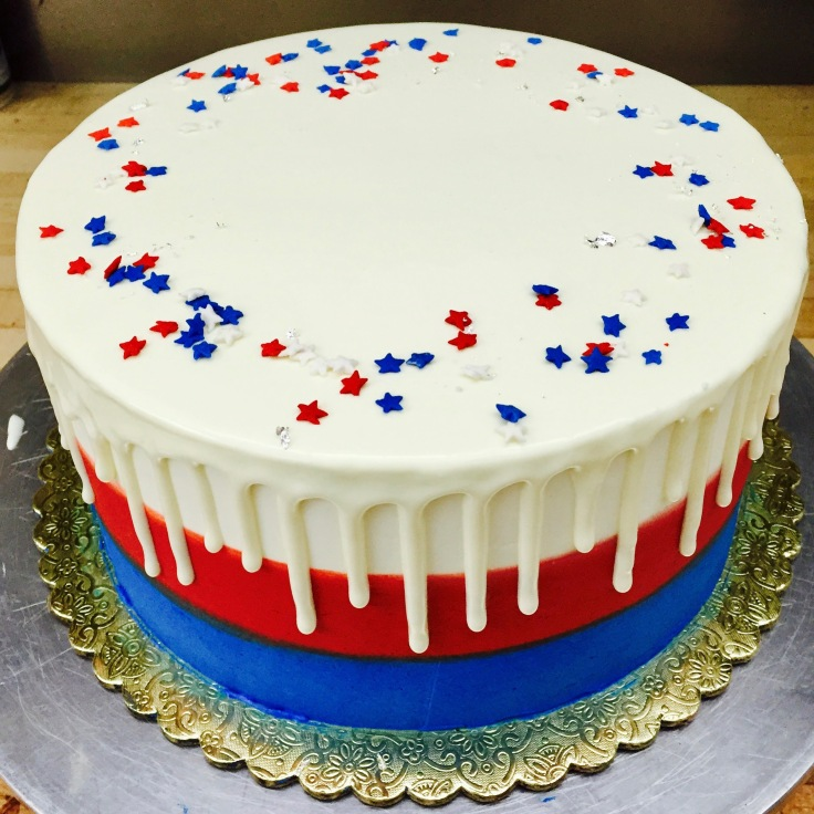 Red, white and blue Drip Cake