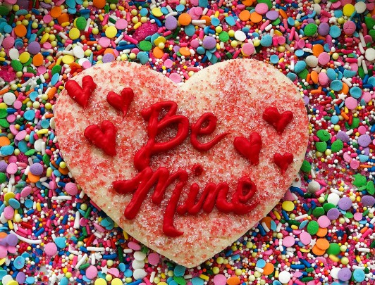 Large Conversation Heart Sugar Cookie with Added Details and Sanding Sugar
