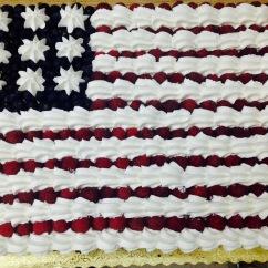 Patriotic berries and cream sheet cake