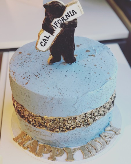 California Love Cake with Edible Sugar Cookie Topper