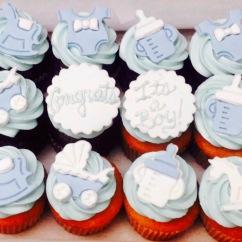Baby Boy Cupcakes with Edible Fondant Topperws