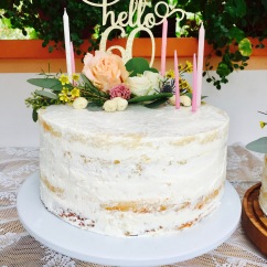 Naked Cake Finished with Fresh Flowers