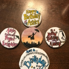 Custom Mary Poppins Birthday Cookies With Royal Icing