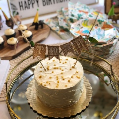 """Simple 6"""" Cake with Buttercream and Edible Gold Sequins"""