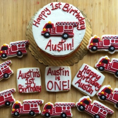 1st Birthday Firetruck Cookies with Royal Icing, Fondant and Corresponding Smash Cake