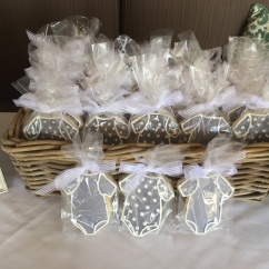 Onesie Cookies with Royal Icing, Customer Provided Clear Bags and Ribbon