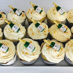 Wedding Cupcakes with Champagne Bottle Toppers
